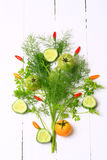 Fresh organic vegetables and herbs Royalty Free Stock Image