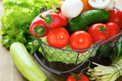 Fresh organic vegetables and herbs Royalty Free Stock Photography