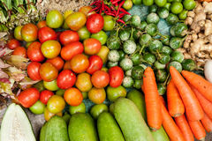 Fresh organic vegetables, herbs and spices at market Stock Images