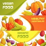 Fresh Organic Vegetables Horizontal Banners Set Stock Images