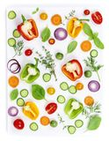 Fresh organic vegetables isolated on white background, top view royalty free stock image