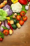 Fresh Organic Vegetables / On Wooden Desk Royalty Free Stock Photo