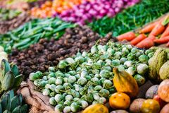 Vegetables at market. Fresh organic vegetables in outdoor market Royalty Free Stock Photography