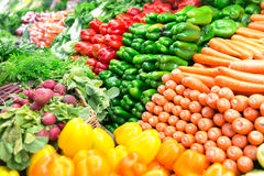 Fresh organic vegetables. Organic fresh vegetables and salad organized in a market Stock Photos