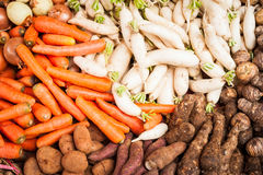 Fresh organic vegetables and spices at market Stock Photo