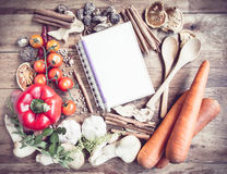 Fresh Organic Vegetables and Spices on a Wooden Background Stock Photography