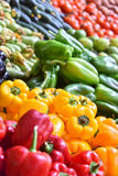 Fresh organic vegetables on street market stall Royalty Free Stock Image