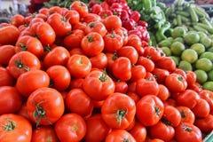 Fresh organic vegetables on street market stall Stock Photo