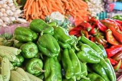 Fresh organic vegetables on street market stall Stock Images
