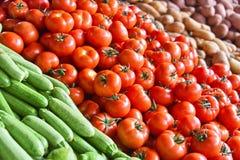 Fresh organic vegetables on street market stall Royalty Free Stock Photography
