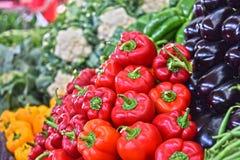 Fresh organic vegetables on street market stall Stock Photography