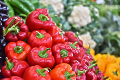 Fresh organic vegetables on street market stall Royalty Free Stock Photos