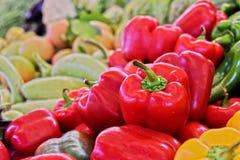 Fresh organic vegetables on street market stall Stock Photos