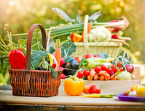 Fresh organic vegetables on a table. In wicker basket Royalty Free Stock Photography