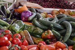 Weekly market in Siena, Tuscany. Fresh, organic vegetables at the weekly market in Siena, Tuscany, Italy, Europe Royalty Free Stock Photography