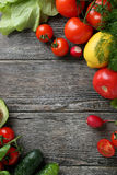 Fresh organic vegetables on wood Stock Photos