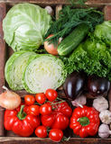 Fresh organic vegetables in wooden crate Stock Photography