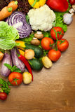 Fresh Organic Vegetables /  on Wooden Desk Royalty Free Stock Photo