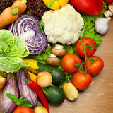 Fresh Organic Vegetables /  on the Wooden Desk Stock Photo