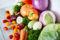 Fresh organic vegetables on wooden. Healthy food Stock Photo