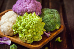 Fresh organic white and purple cauliflower, broccoli, romanesco Royalty Free Stock Photography