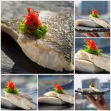 Fresh organic white tuna meat sliced at plate with salad. Collag Stock Photos