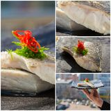 Fresh organic white tuna meat sliced at plate with salad. Collag Royalty Free Stock Photography