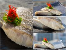 Fresh organic white tuna meat sliced at plate with salad. Collag Stock Images