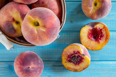 Fresh organic yellow peaches and peach salsa Royalty Free Stock Photography
