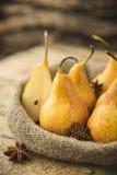 Fresh Organic Yellow Pears. Yellow ripe and juicy pears Royalty Free Stock Photos