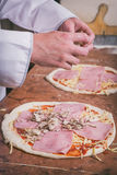 Fresh original Italian pizza. Preparing of fresh original Italian pizza Stock Photos
