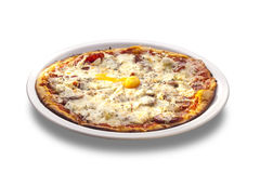 Fresh Oven Baked Pizza with Egg, Sausage, All Cheese Royalty Free Stock Image