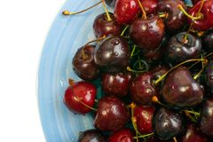 Fresh Overripe ripe Cherries on Blue Rustic Plate Top View. Round plate of fresh ripe cherries isolated on white background for design montage. Blue bowl with stock photography