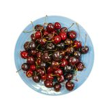 Fresh Overripe ripe Cherries on Blue Rustic Plate Top View. Round plate of fresh ripe cherries isolated on white background for design montage. Blue bowl with stock photos