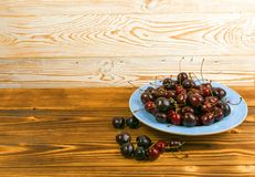 Fresh Overripe ripe Cherries on Blue Rustic Wooden Background. Round blue plate of fresh ripe cherries on old wooden background for design montage. Vintage wood royalty free stock photo