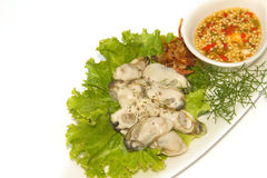 Fresh oyster decoration. On dish Stock Image