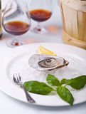 Fresh Oyster on ice Stock Image
