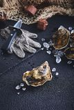 Fresh oyster on ice on a black table royalty free stock photos