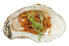 Fresh oyster topped with vegetable and sauce, the tasty Asian. A fresh oyster topped with vegetable and sauce, the tasty Asian style dish Stock Images