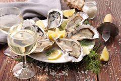 Fresh oyster. And wine glass Stock Image