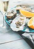 Fresh oysters close-up on blue plate, served table with oysters, lemon and champagne in restaurant. Gourmet food Royalty Free Stock Image