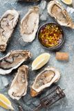 Fresh oysters. On stone table. Top view Stock Photography
