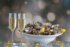 Fresh oysters with glass of champaigne Stock Photo