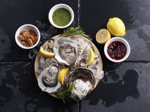 Fresh Oysters on ice and lemon Stock Images