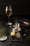 Fresh oysters with lemon and a glass of wine. On a dark background Stock Images