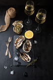 Fresh oysters with lemon and a glass of wine. On a dark background Stock Photography
