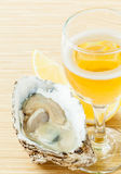 Fresh oysters with lemon. Stock Photos