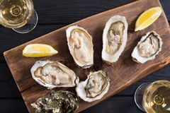 Fresh Oysters with lemon and white wine. Seafood background royalty free stock images