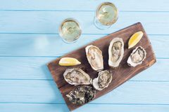 Fresh Oysters with lemon and white wine. Seafood background royalty free stock photos
