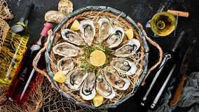Fresh oysters with lemon in Wooden Box. On a black stone background. Top view. Free copy space royalty free stock photos